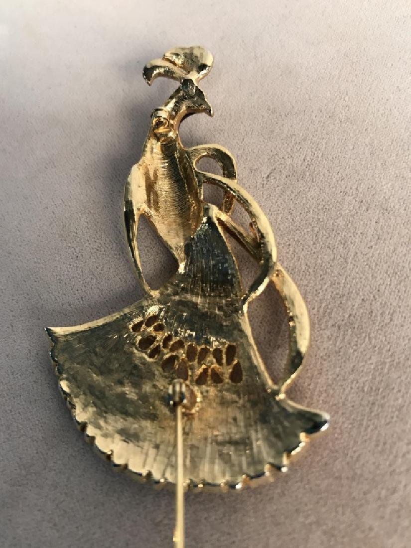Black Enameled Gold Toned And Peacock Brooch - 5