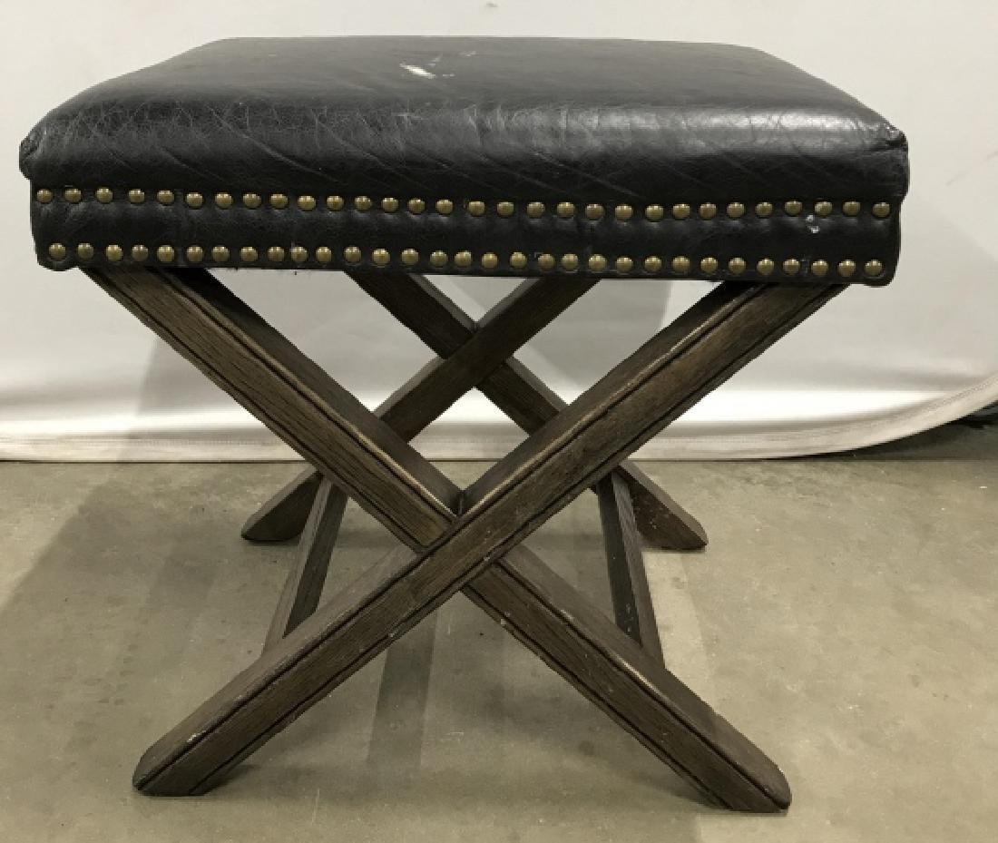 X Base Stool With Imitation Leather Seat