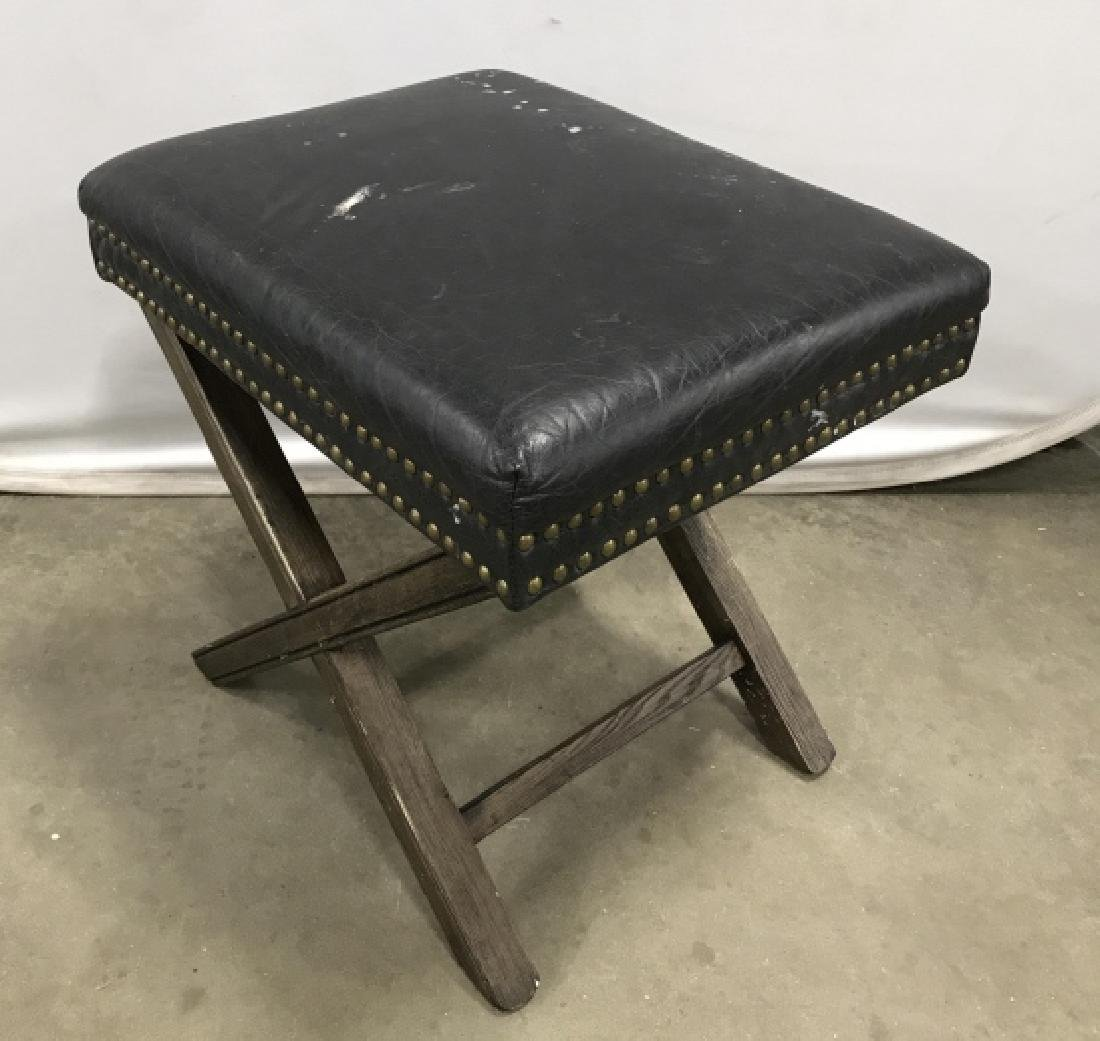 X Base Stool With Imitation Leather Seat - 2