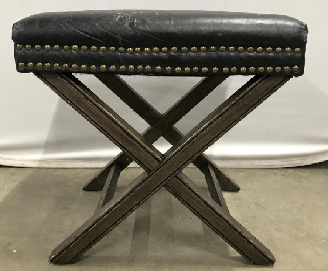 X Base Stool With Imitation Leather Seat - 3