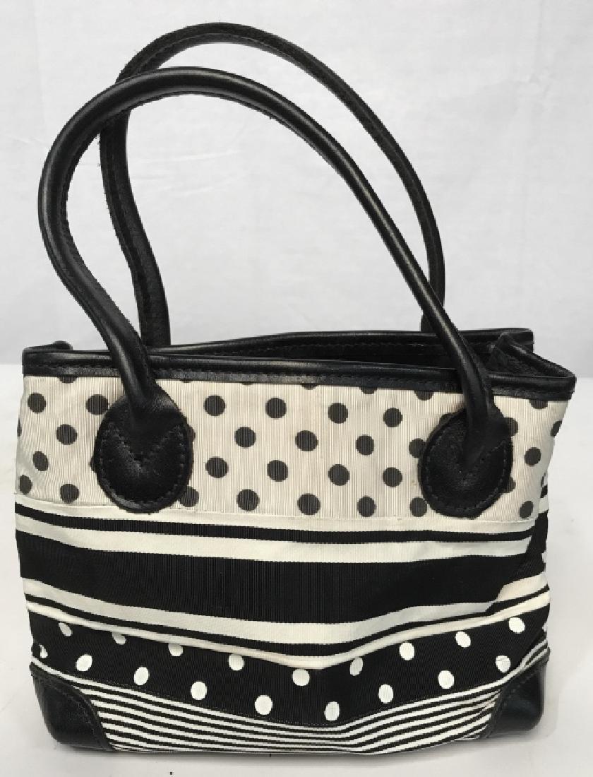 J McLaughlin Ladies Black & White Fabric Handbag