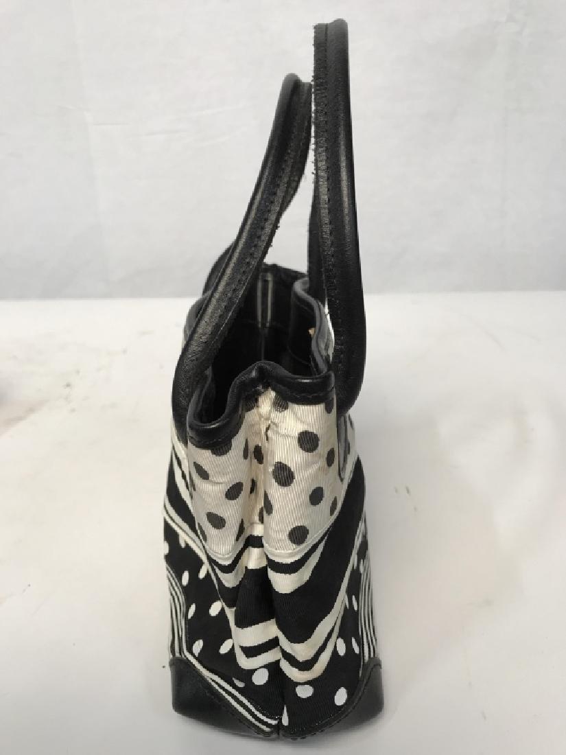 J McLaughlin Ladies Black & White Fabric Handbag - 3
