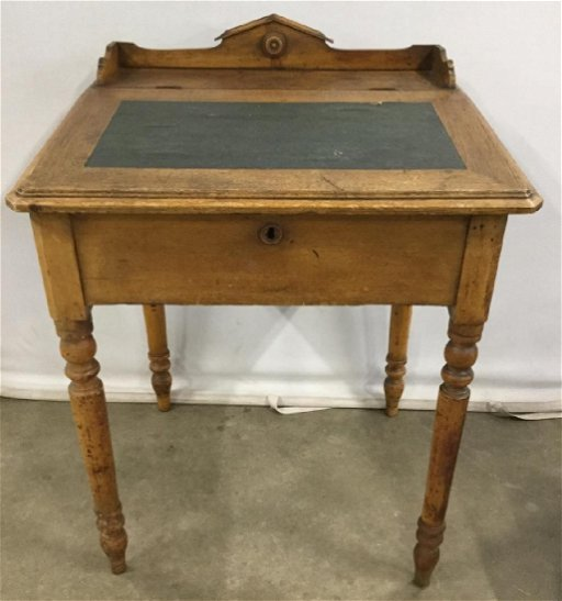 Vintage Wooden Writing School Storage Desk