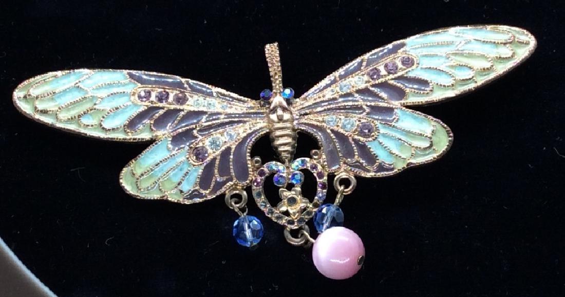 Vintage Enameled Butterfly Brooch/Pendant - 2