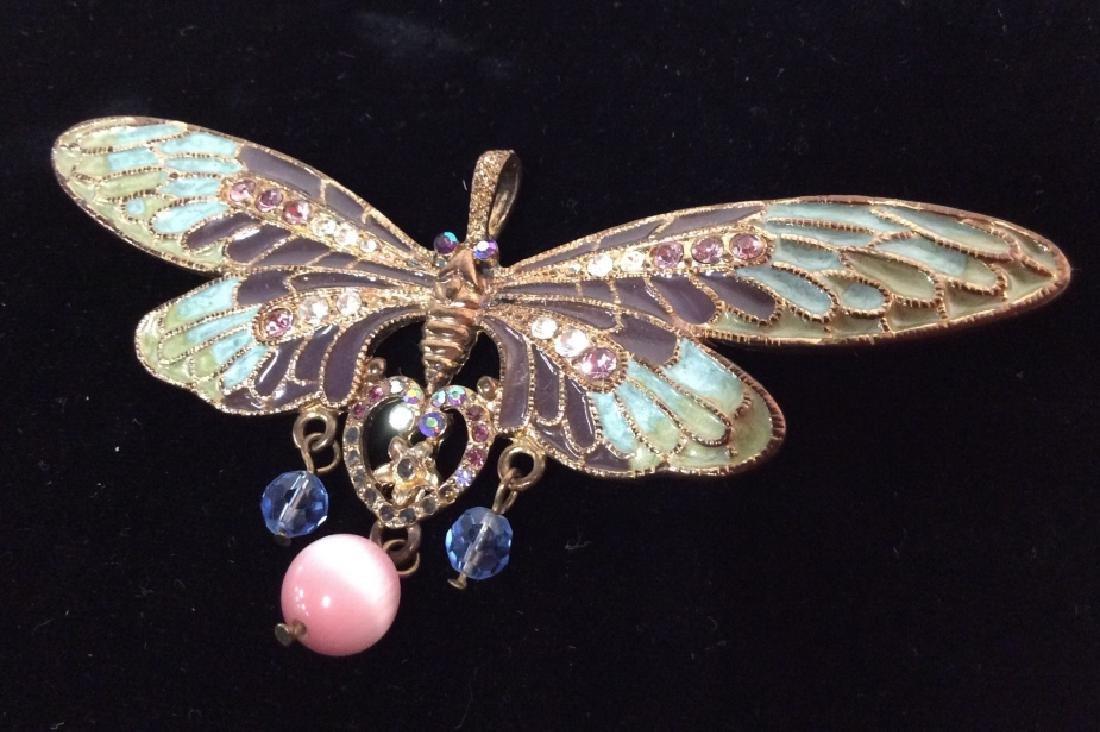 Vintage Enameled Butterfly Brooch/Pendant - 5