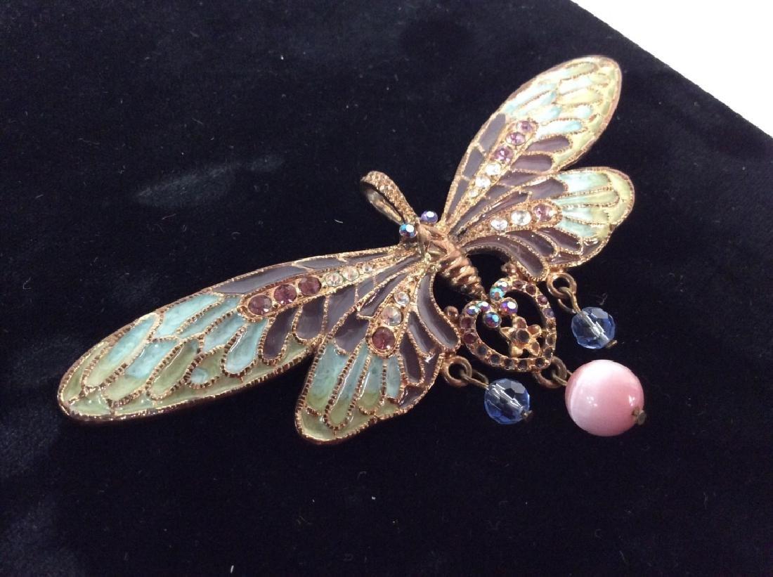 Vintage Enameled Butterfly Brooch/Pendant - 6