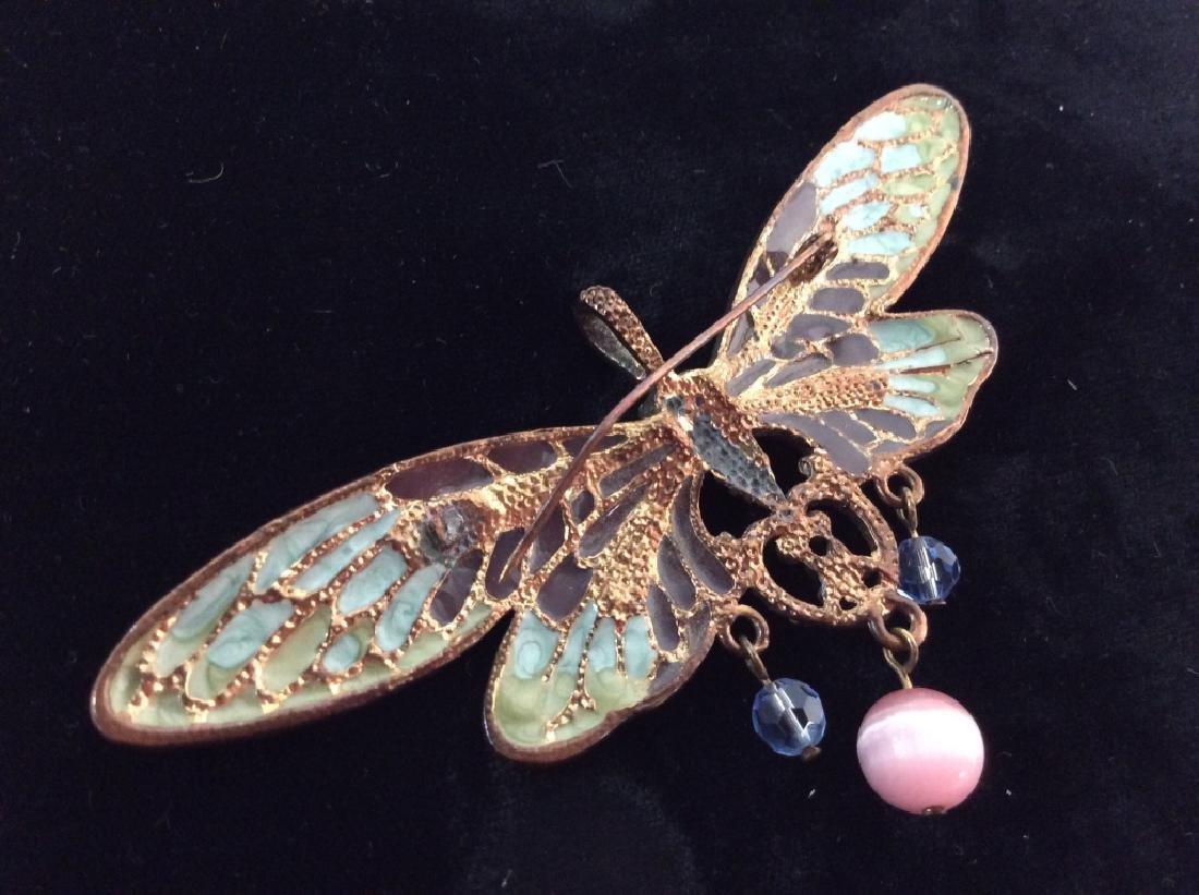 Vintage Enameled Butterfly Brooch/Pendant - 7