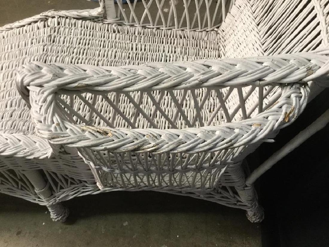 Vintage White Wicker Lounge Chair - 4