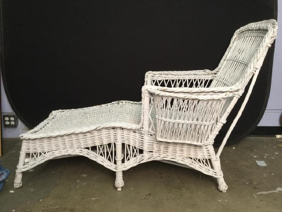 Vintage White Wicker Lounge Chair - 5