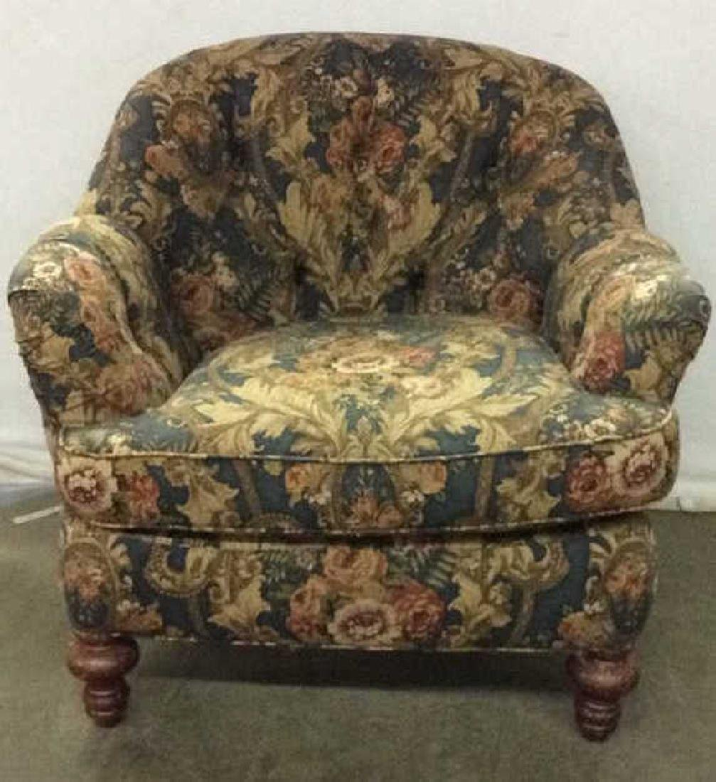 Floral Detailed Arm Chair W Pillow
