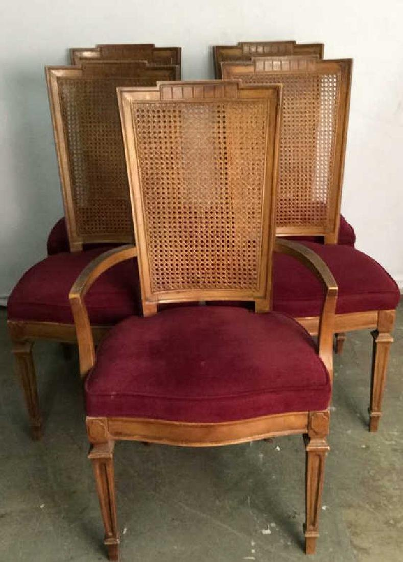 Set 4 Cushioned Caned Dining Chairs