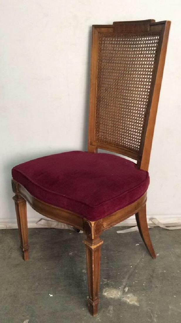 Set 4 Cushioned Caned Dining Chairs - 4