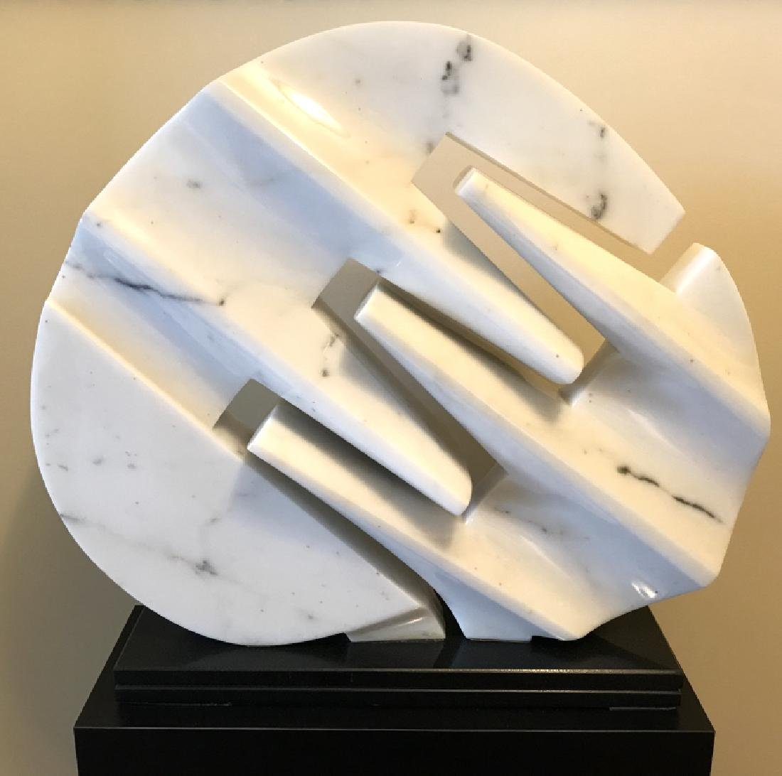 Room Sized White Marble Disk Sculpture