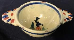HB  Quimper FRANCE Hand Painted Ceramic Dish
