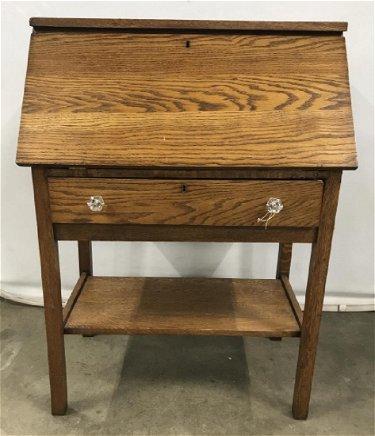 Antique Drop Front Secretary Desk >> Vintage Oak Drop Front Secretary Desk