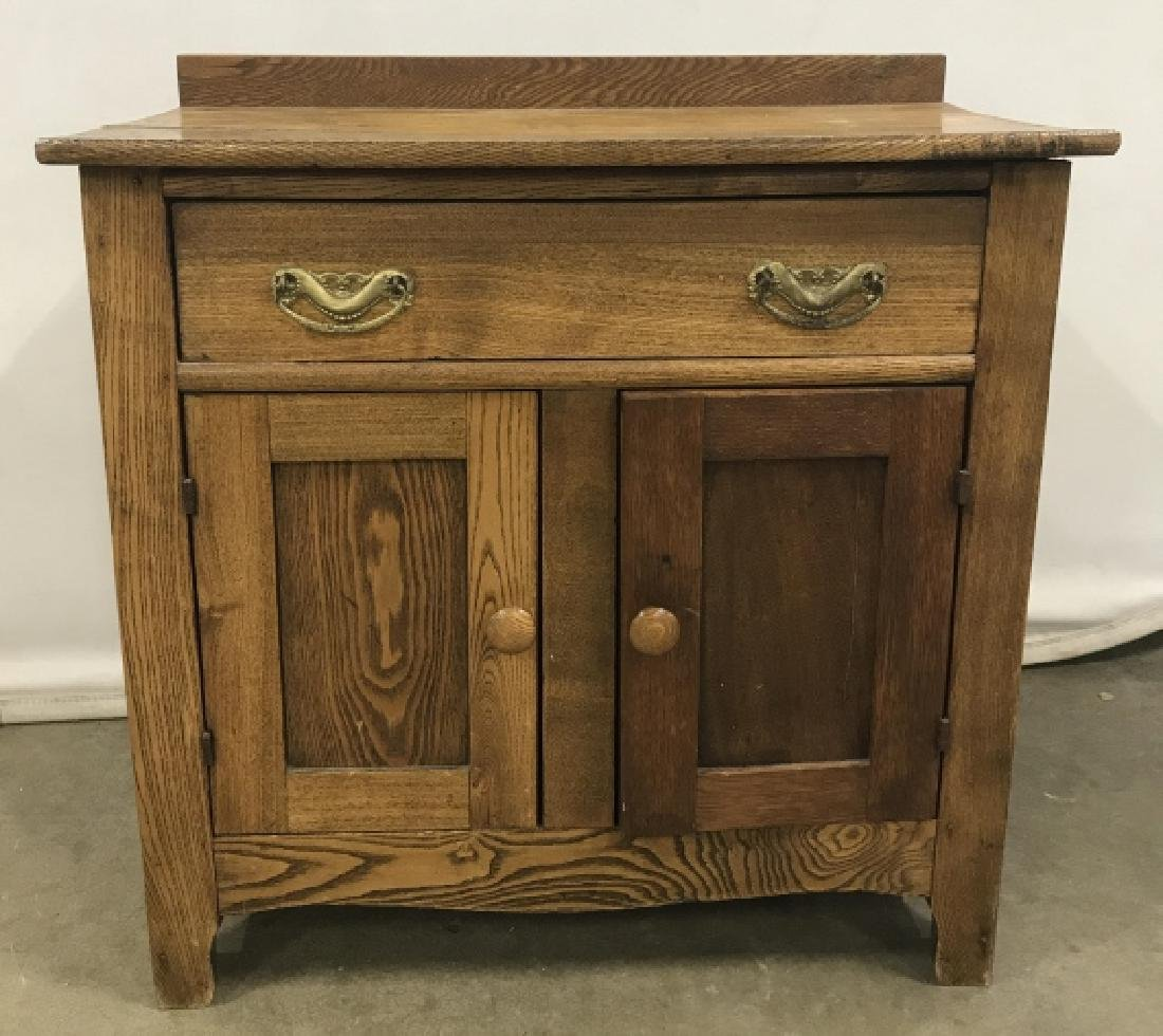 Poss Antique Oak Side Table Cabinet