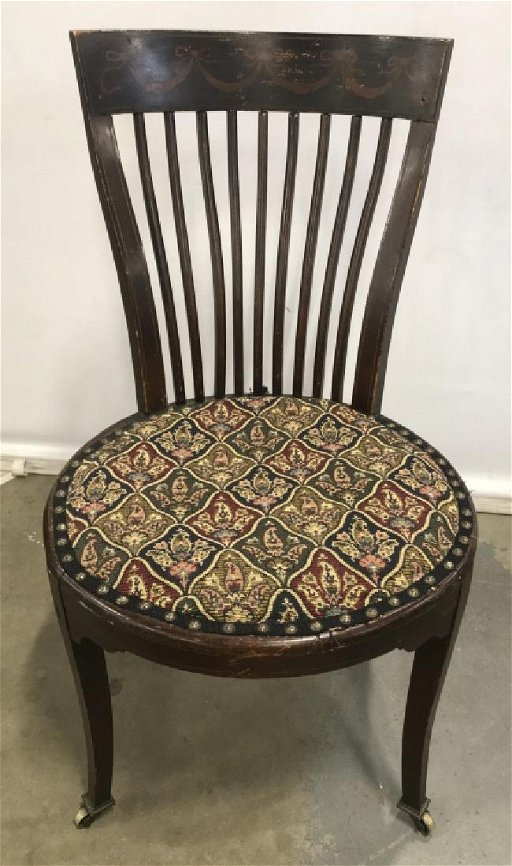 Antique Wooden Chairs >> Antique Wooden Chair W Caster Front Feet