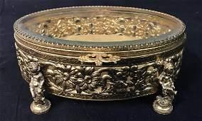 Oval Gilt Metal Floral Pierced Jewelry Box
