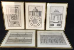 Set of 5 Framed NEUFFORGE Architectural Engravings