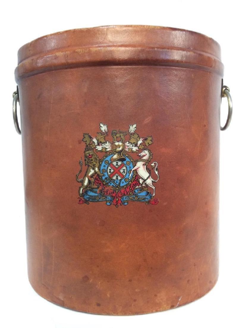 Vintage Leather Mounted Bucket / Bin