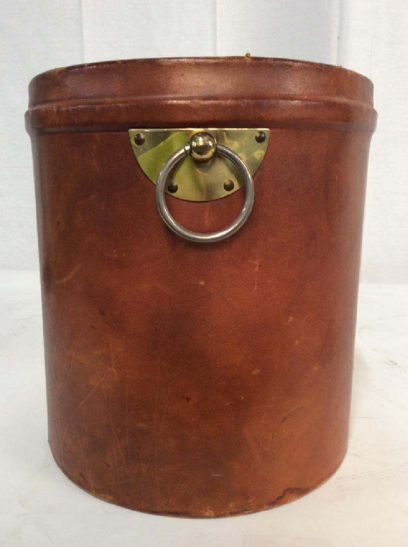 Vintage Leather Mounted Bucket / Bin - 3