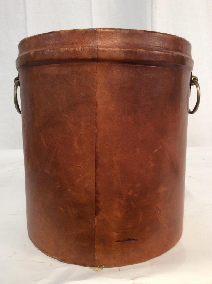 Vintage Leather Mounted Bucket / Bin - 4