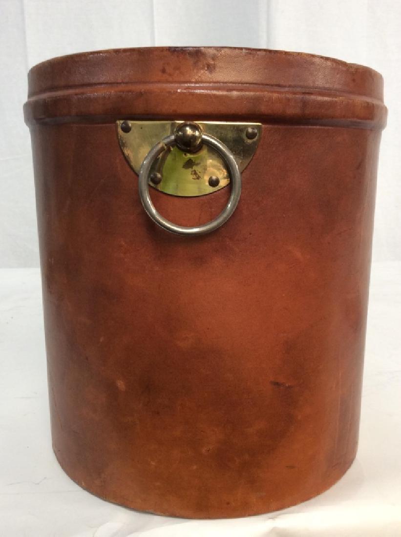 Vintage Leather Mounted Bucket / Bin - 5