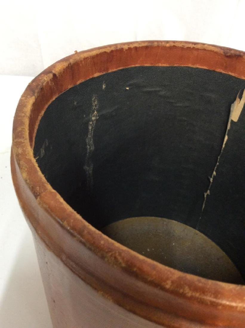Vintage Leather Mounted Bucket / Bin - 8