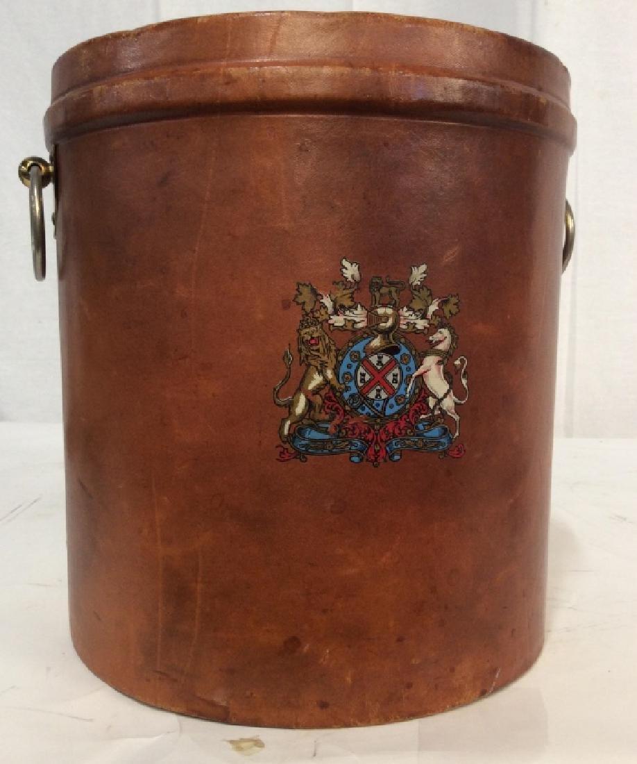 Vintage Leather Mounted Bucket / Bin - 9