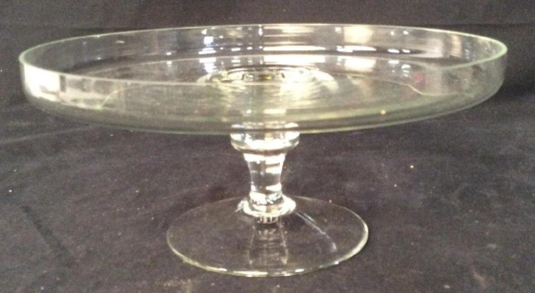 Vintage Glass Cake Plate On Stem