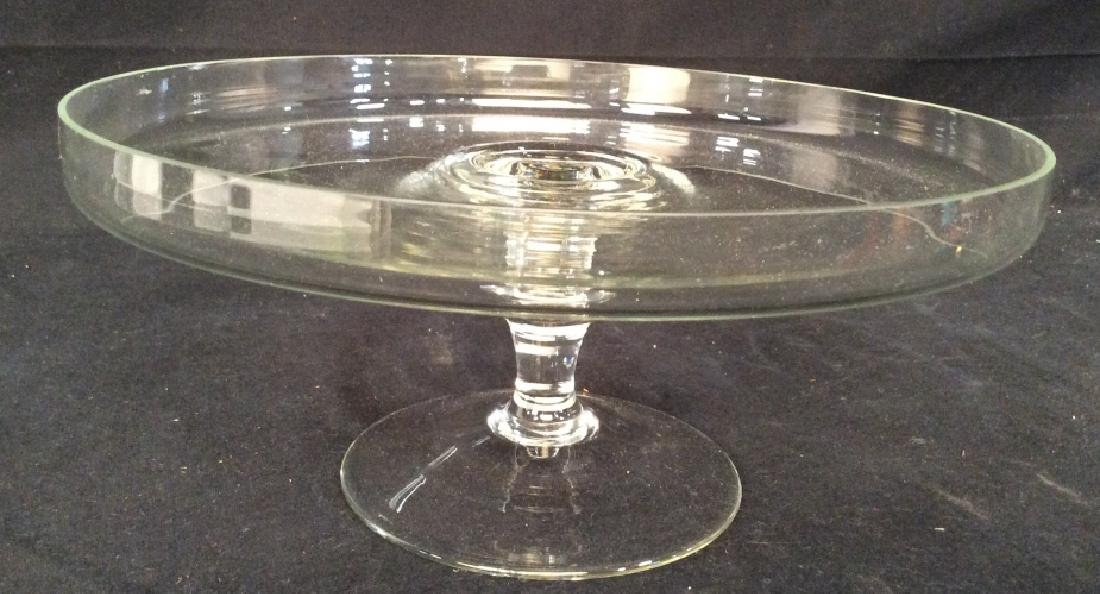 Vintage Glass Cake Plate On Stem - 2