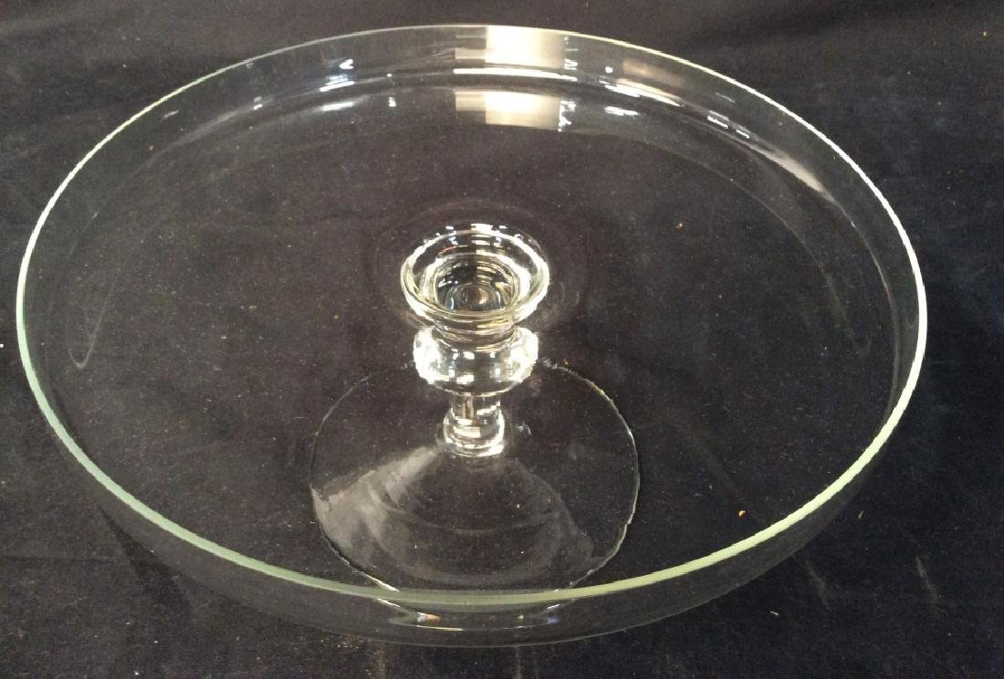 Vintage Glass Cake Plate On Stem - 3