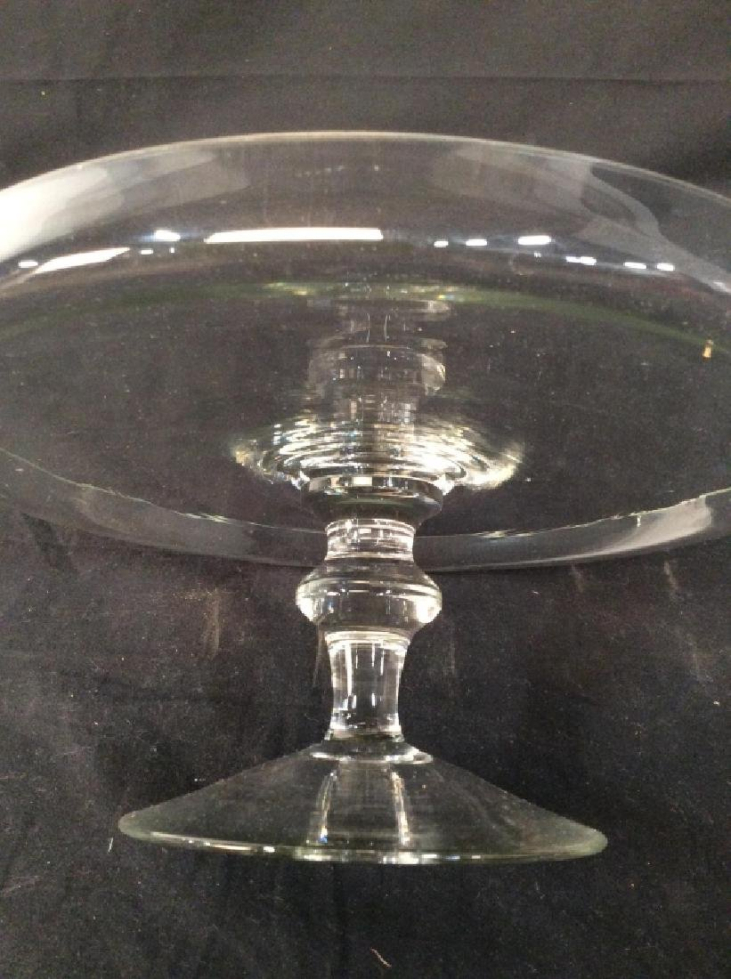 Vintage Glass Cake Plate On Stem - 4