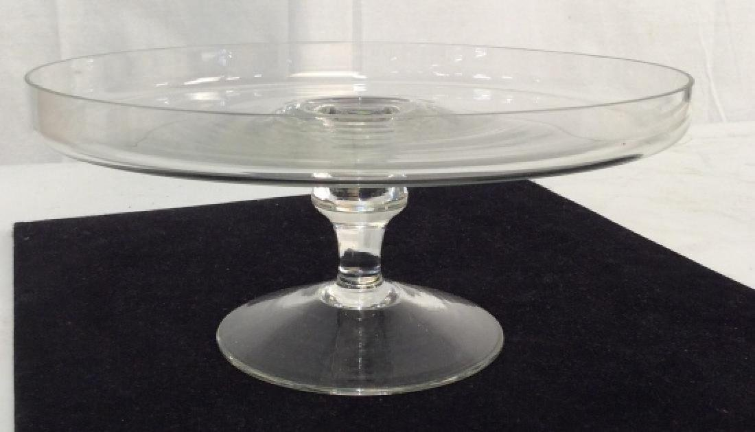 Vintage Glass Cake Plate On Stem - 6