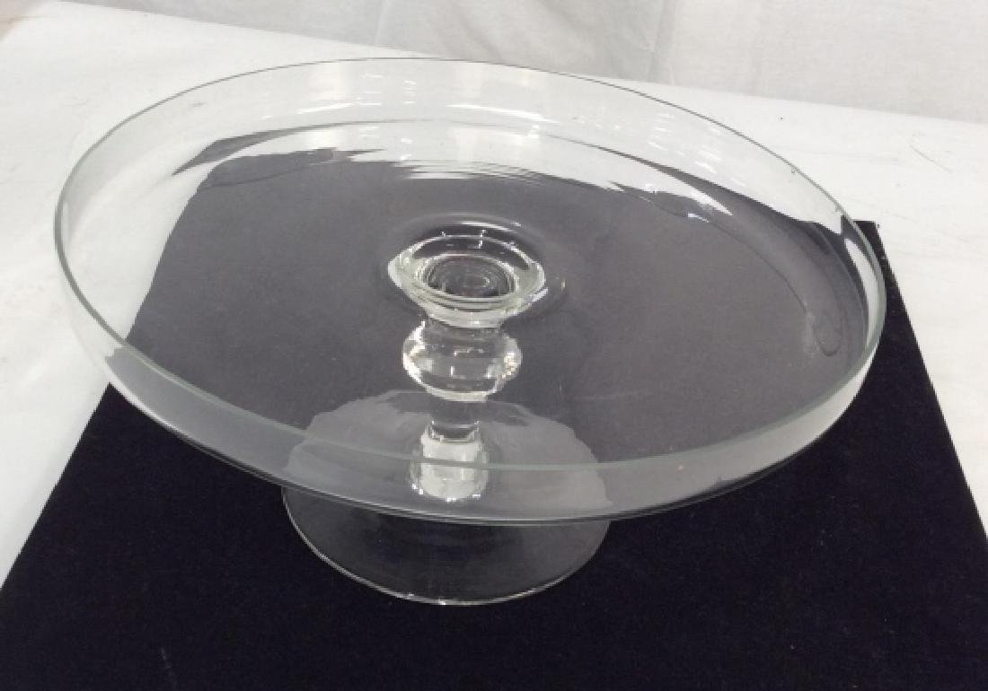 Vintage Glass Cake Plate On Stem - 7