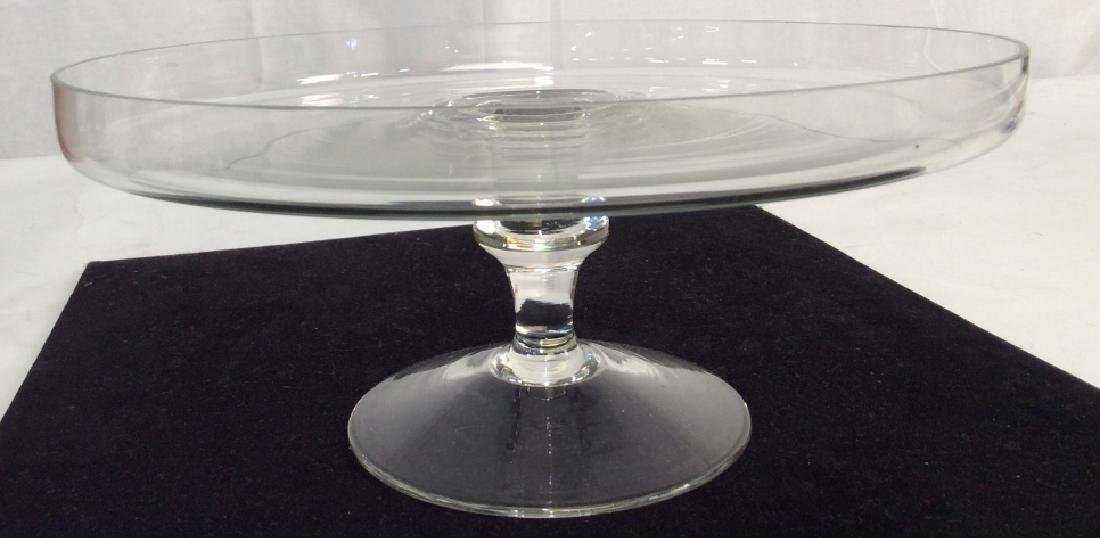 Vintage Glass Cake Plate On Stem - 8