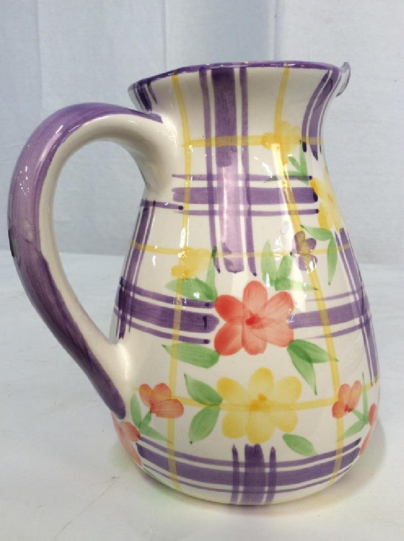 Vintage Ceramic Water Pitcher Jug, - 2