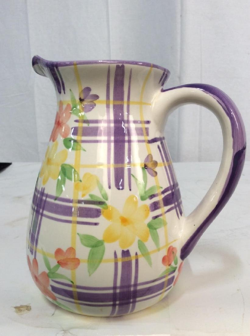 Vintage Ceramic Water Pitcher Jug, - 4