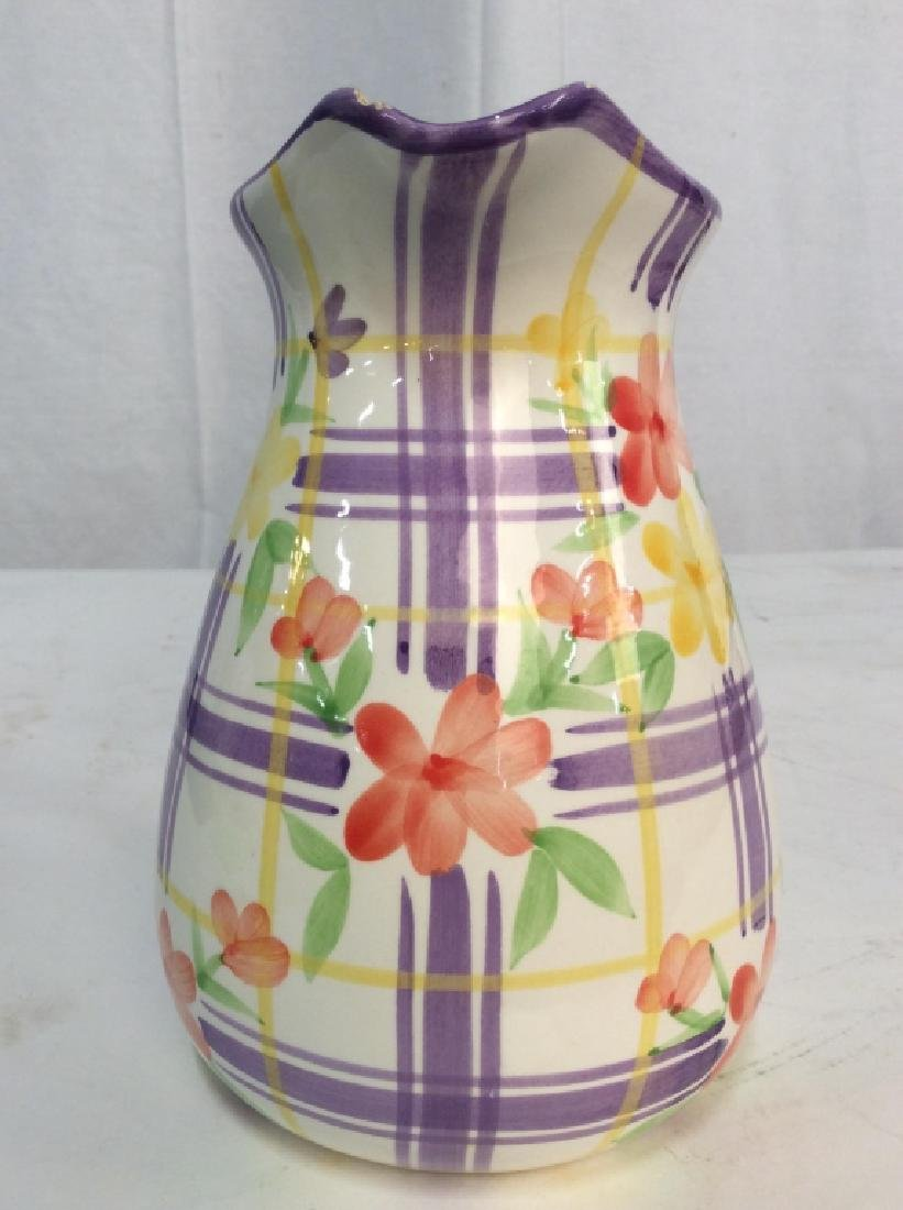Vintage Ceramic Water Pitcher Jug, - 5