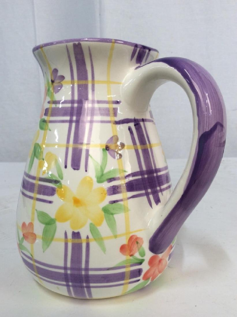 Vintage Ceramic Water Pitcher Jug, - 9