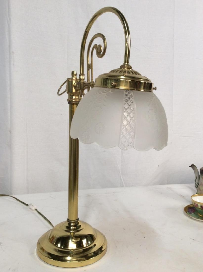 Vintage Style Brass Toned Table Lamp with Shade - 2