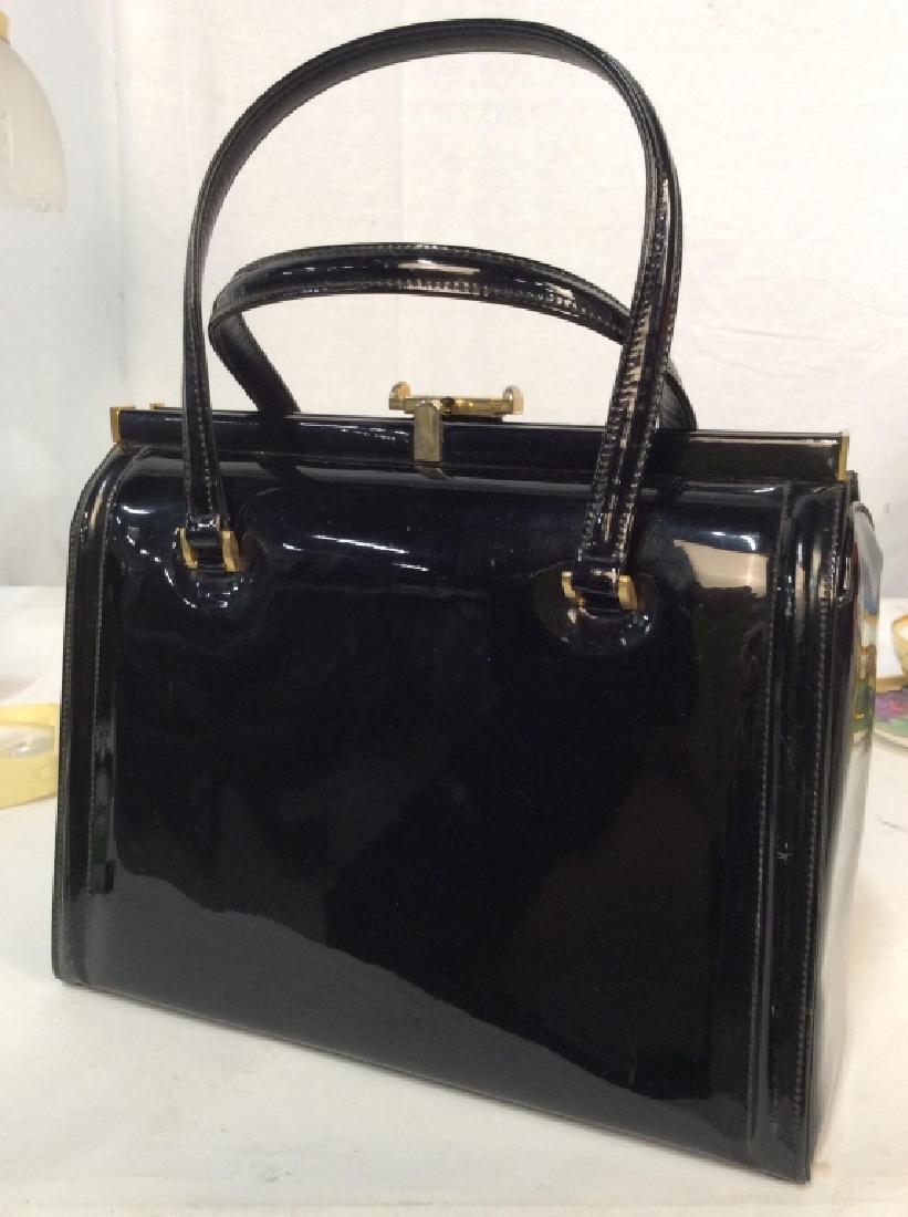 Vintage Manon Black Patent Leather Ladies Handbag