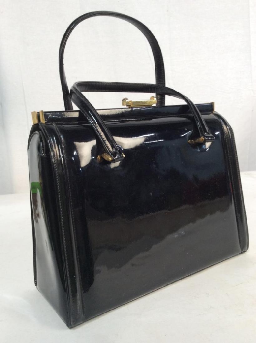Vintage Manon Black Patent Leather Ladies Handbag - 3