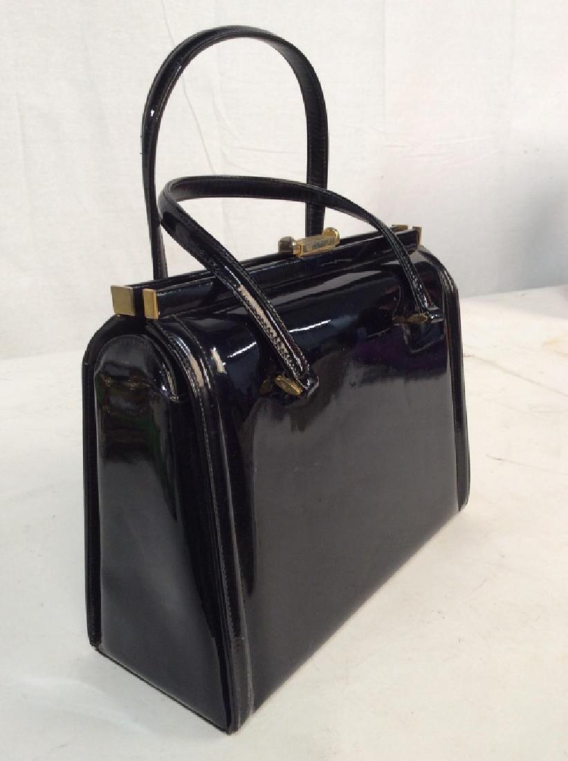 Vintage Manon Black Patent Leather Ladies Handbag - 4