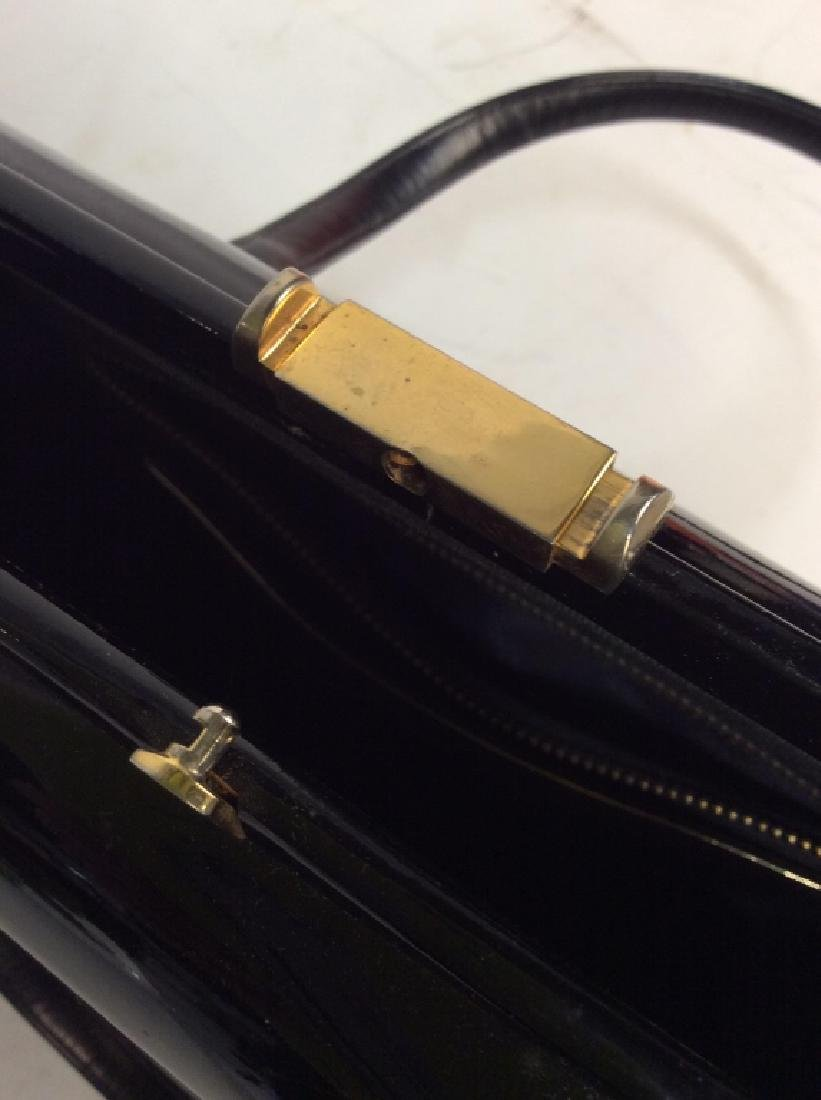 Vintage Manon Black Patent Leather Ladies Handbag - 6
