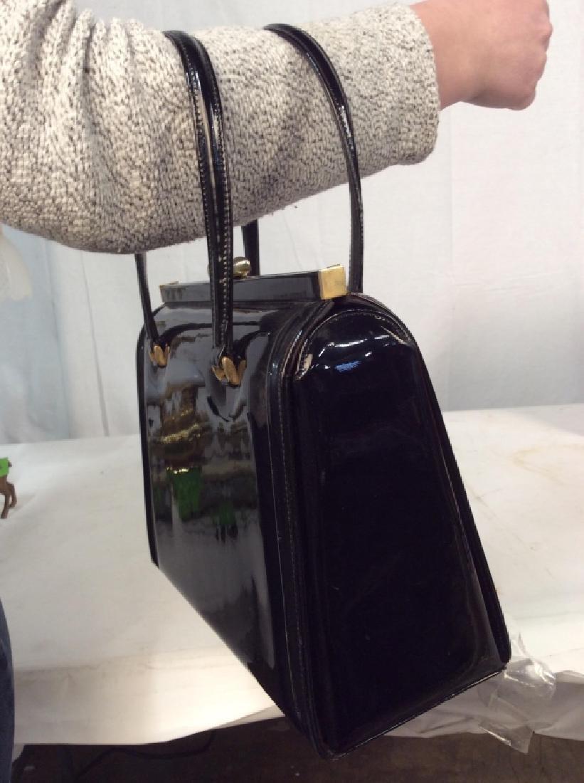 Vintage Manon Black Patent Leather Ladies Handbag - 7