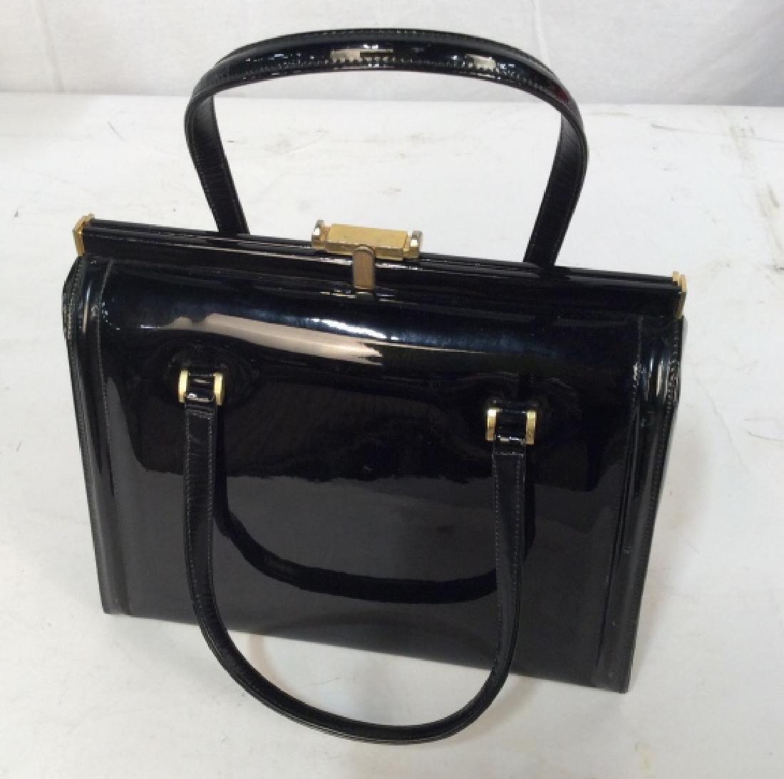 Vintage Manon Black Patent Leather Ladies Handbag - 8