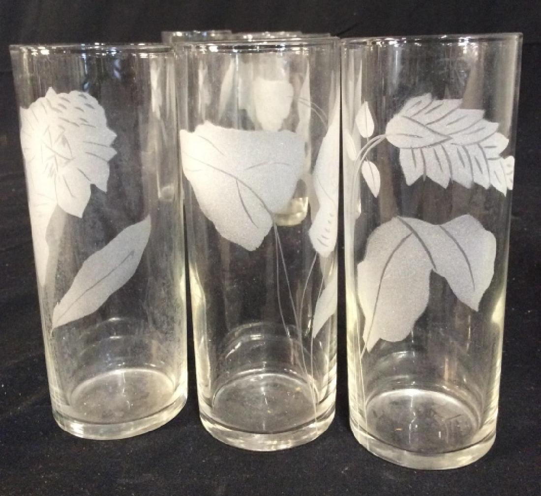 Set of 7 Etched Glass Water Glasses - 3