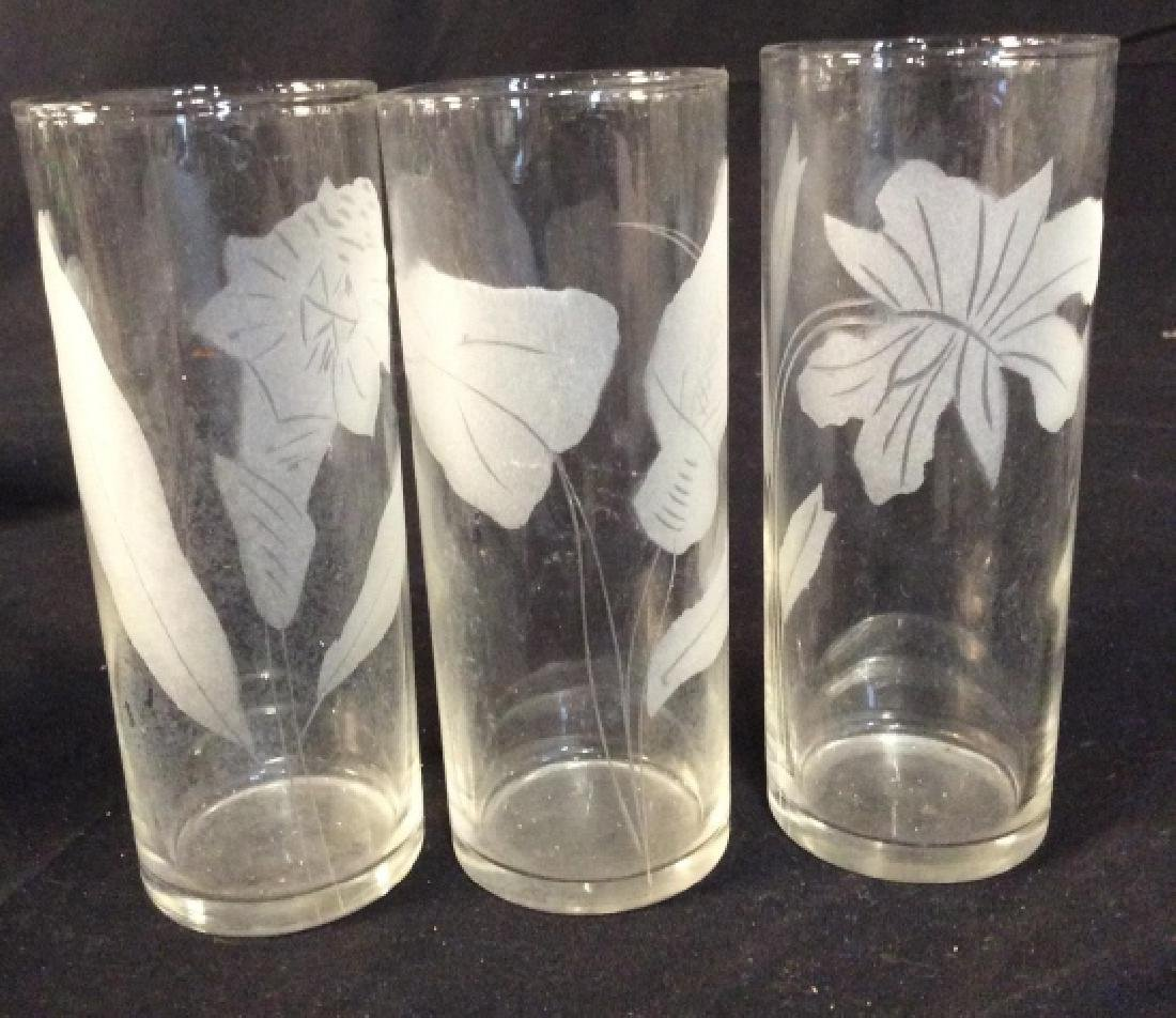 Set of 7 Etched Glass Water Glasses - 6