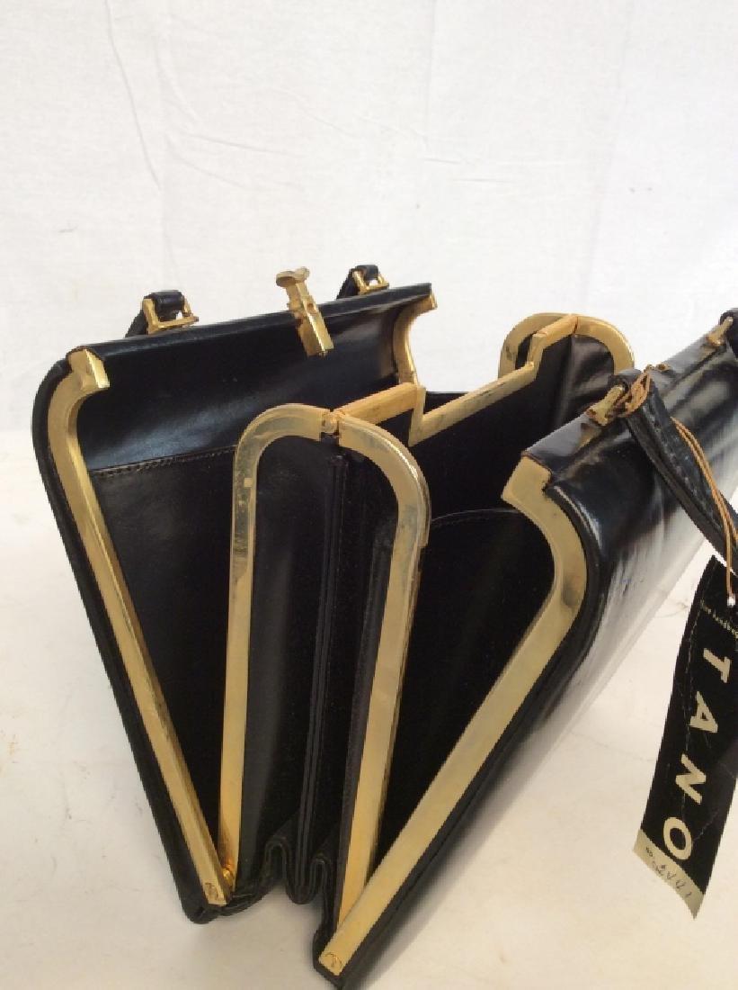 Vintage Ladies Tano Black Leather Handbag - 10